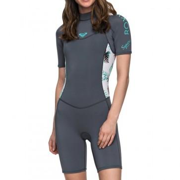Roxy Women's Syncro 2mm Short Sleeve Spring Wetsuit - Ash/Pistachio