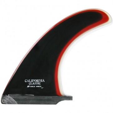 """True Ames Fins 6"""" California Classic Fin - Black/Red/Clear"""