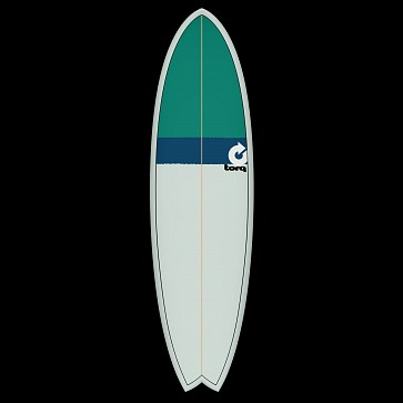 Torq Mod Fish 6'6 x 21 x 2 5/8 Surfboard - Seagreen/Navy/Green - Deck