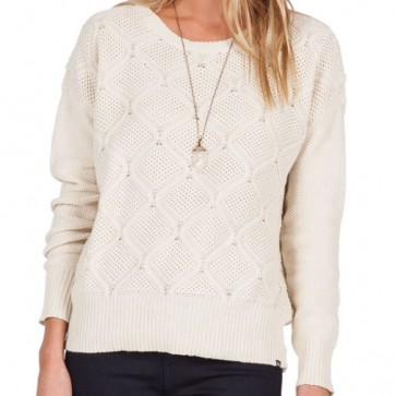 Volcom Women's Chained Down Crew Sweater - Vintage White
