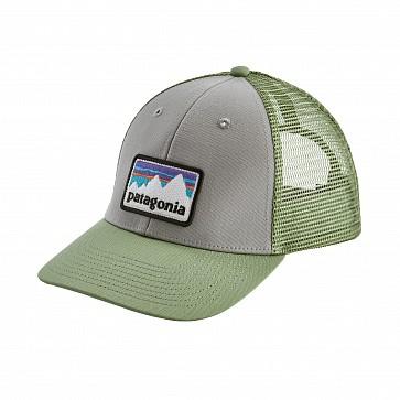 Patagonia Shop Sticker Patch LoPro Trucker Hat - Drifter Grey/Matcha Green
