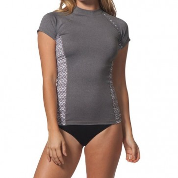 Rip Curl Wetsuits Women's Trestles Cap Sleeve Rash Guard - Charcoal