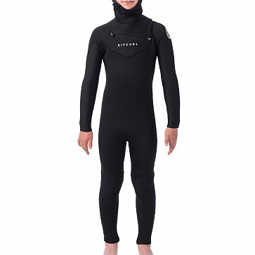 Rip Curl Youth Dawn Patrol 5/4 Hooded Chest Zip Wetsuit - Black