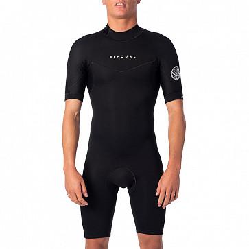 Rip Curl Dawn Patrol 2mm Short Sleeve Back Zip Spring Wetsuit - Black