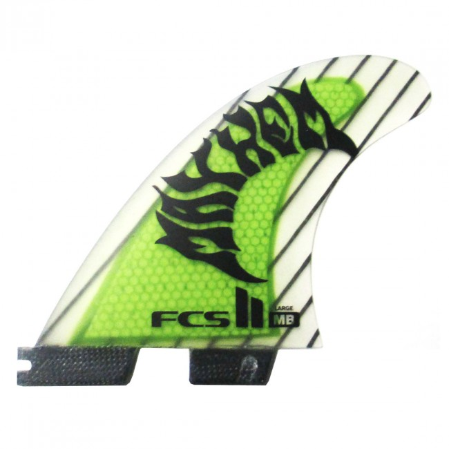 FCS II Fins MB PC Carbon Large - Neon Green - Cleanline Surf 37eb9e210