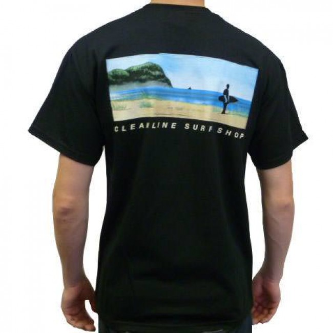 Cleanline mural t shirt black cleanline surf for Murals on the t shirt