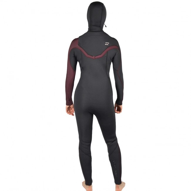 Billabong Women s Furnace Carbon 5 4 Hooded Chest Zip Wetsuit - Mulberry bae403023