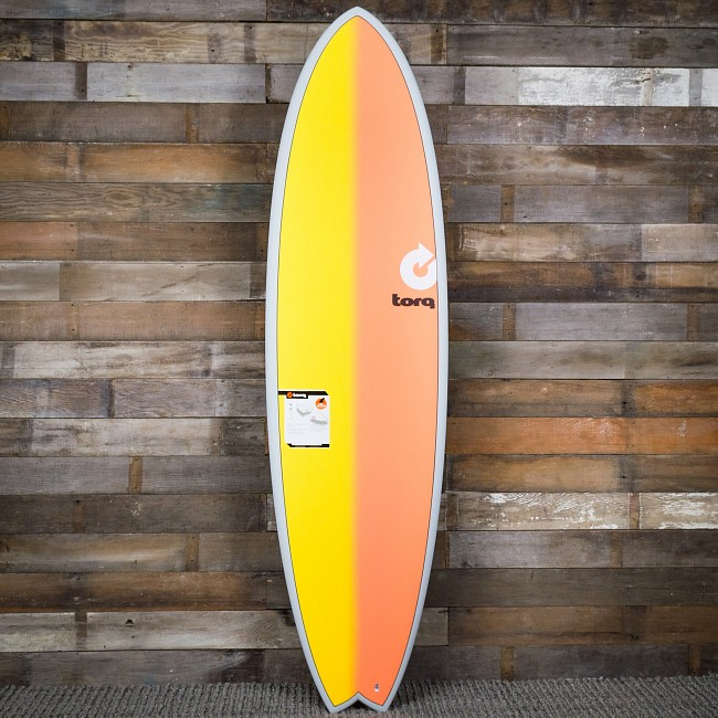 Torq Mod Fish 7'2 x 22 1/2 x 3 Surfboard - Grey/Yellow/Orange