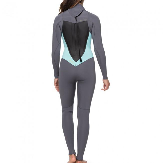 Roxy Women s Syncro 3 2 Back Zip Wetsuit - Deep Grey Glicer Blue 726add623b4