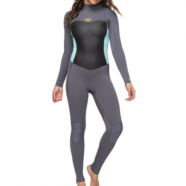 Roxy Women s Syncro 4 3 Back Zip Wetsuit - Deep Grey Glicer Blue aec1824a3