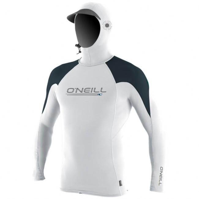 8526878e10 O Neill Wetsuits Skins O Zone Hooded Long Sleeve Rash Guard -  White Slate Reef - Cleanline Surf