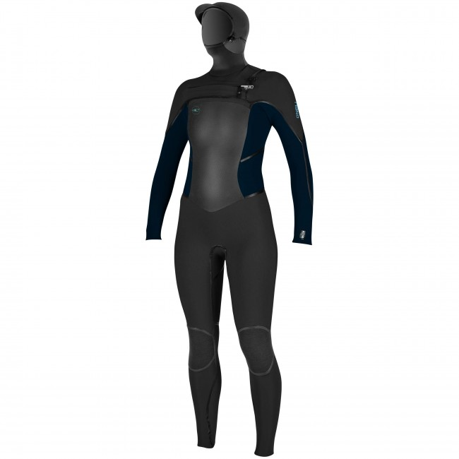 O Neill Women s Psycho Tech 5.5 4 Hooded Chest Zip Wetsuit - Black  c4c5af5f7