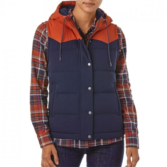 1e8d9f52a Patagonia Women's Bivy Down Hooded Vest - Navy Blue