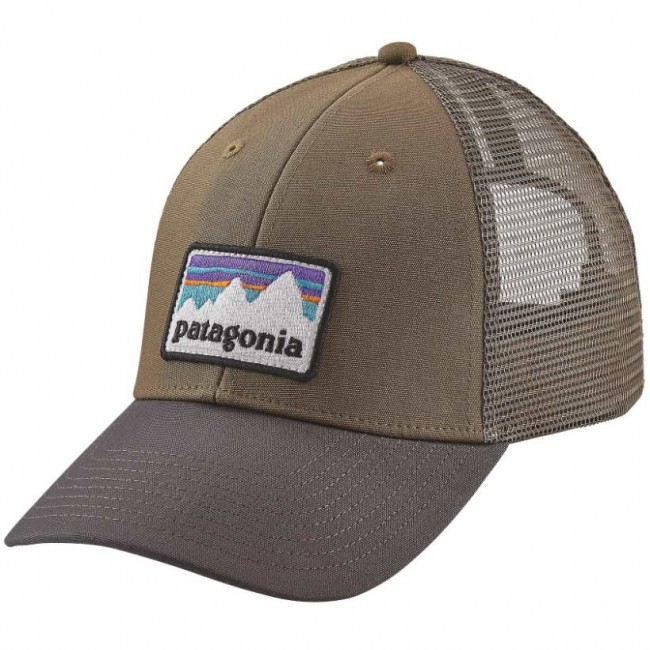 43aab7a9 Patagonia Shop Sticker Patch LoPro Trucker Hat - Dark Ash - Cleanline Surf