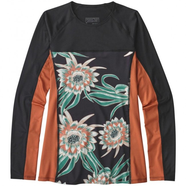 Patagonia Wetsuits Women's Micro Swell Long Sleeve Rash Guard - Cereus Flower/Black - Cleanline Surf