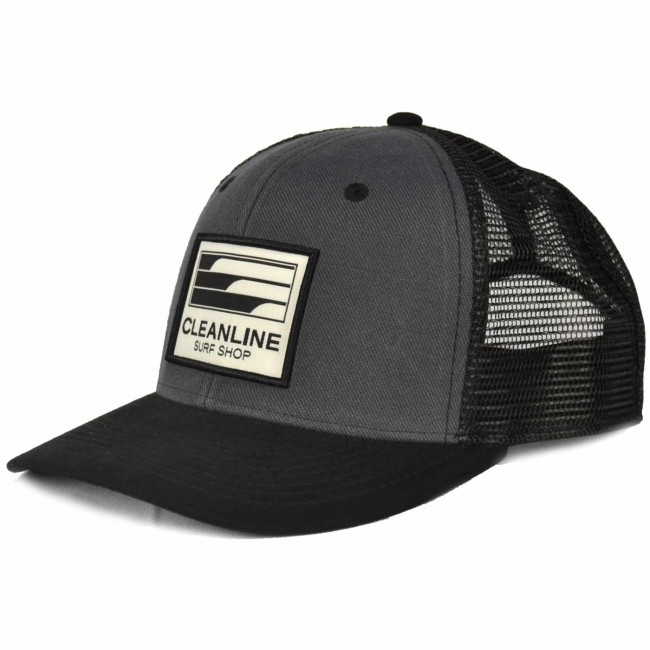 1704495c3049e Cleanline Lines Trucker Hat - Charcoal Black - Cleanline Surf