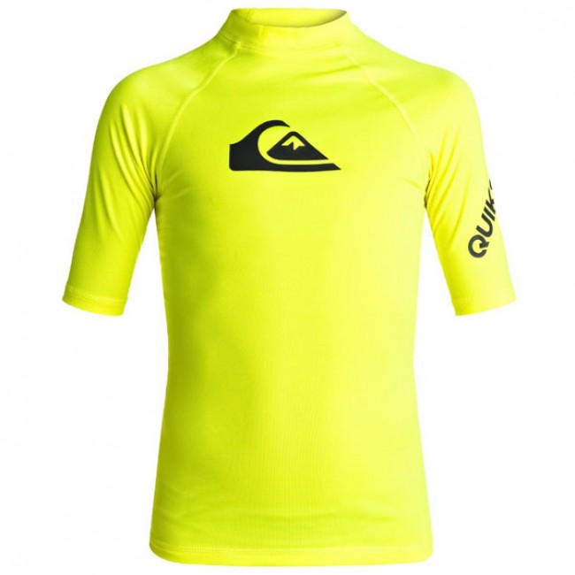 0ba00cc03ae16 Quiksilver Wetsuits Youth All Time Short Sleeve Rash Guard - Safety Yellow  - Cleanline Surf