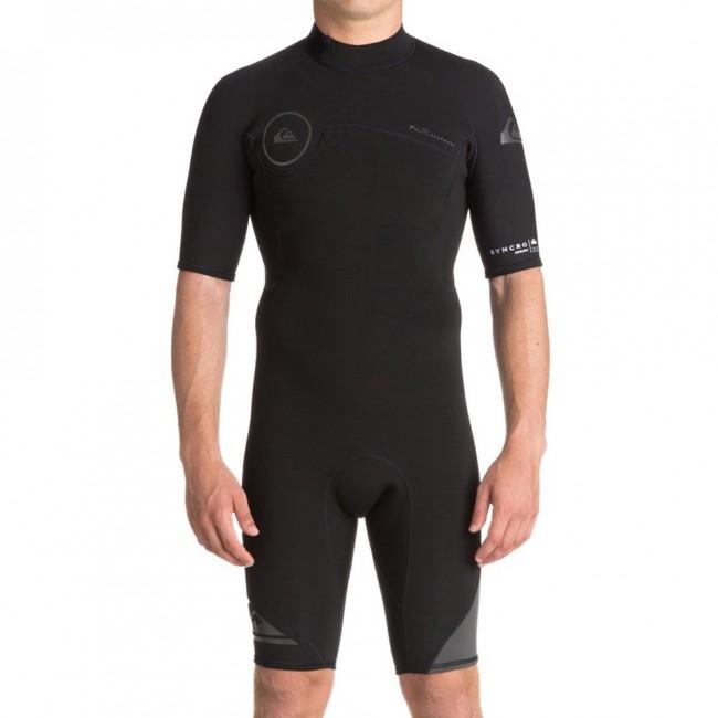 Quiksilver Syncro 2mm Short Sleeve Back Zip Spring Wetsuit - Black Jet  Black ... 0b7423dea