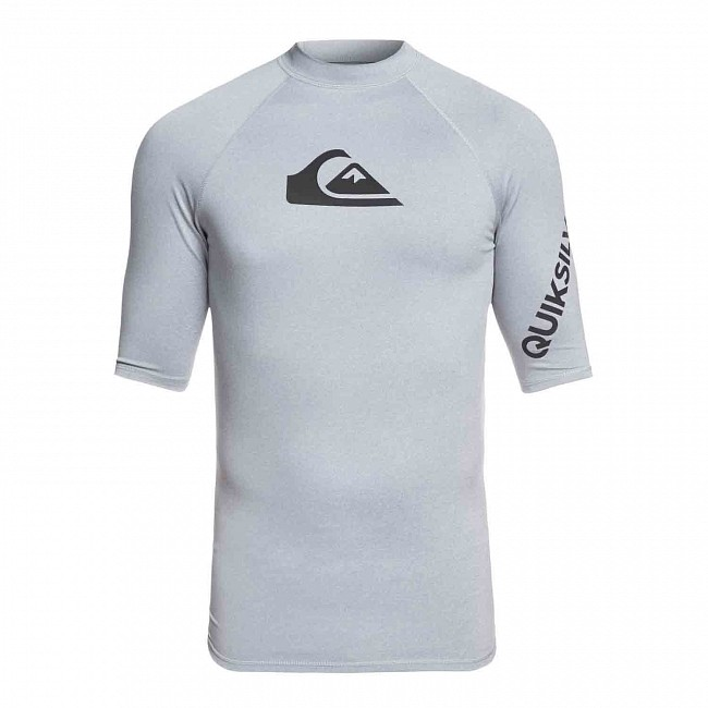 d5bb4a7e6ad74 Quiksilver All Time Short Sleeve Rash Guard - Light Grey Heather -  Cleanline Surf