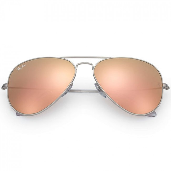 8bfe888d05 Ray-Ban Aviator Sunglasses - Matte Silver Brown Mirror Pink ...