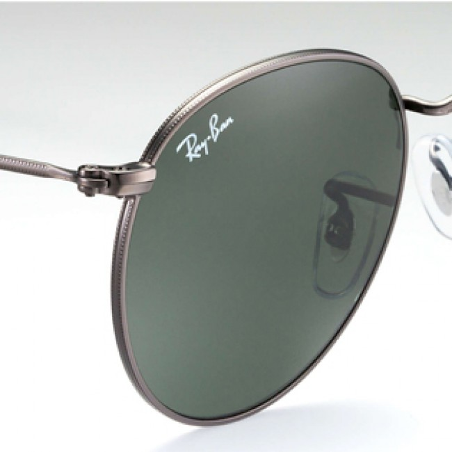 Ray Ban Round Metal Sunglasses Matte Gunmetal Crystal Green