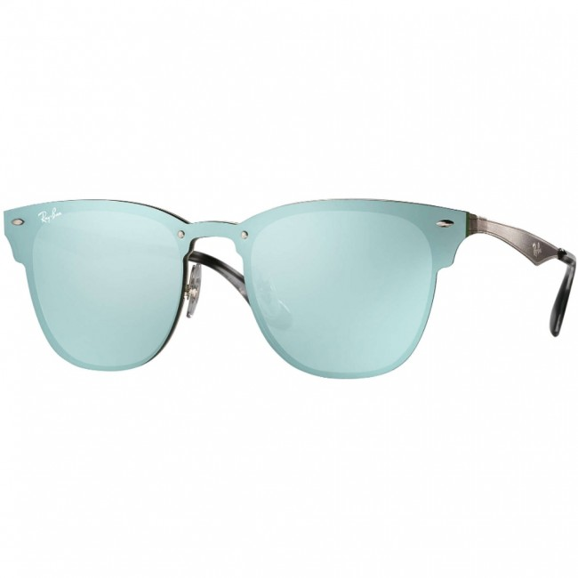 58b10469591 Ray-Ban Blaze Clubmaster Sunglasses - Silver Dark Green Silver Mirror -  Cleanline Surf