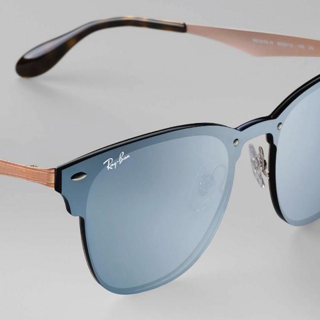 b6e0d65de38 Ray-Ban Blaze Clubmaster Sunglasses - Bronze Copper Blue Silver Mirror