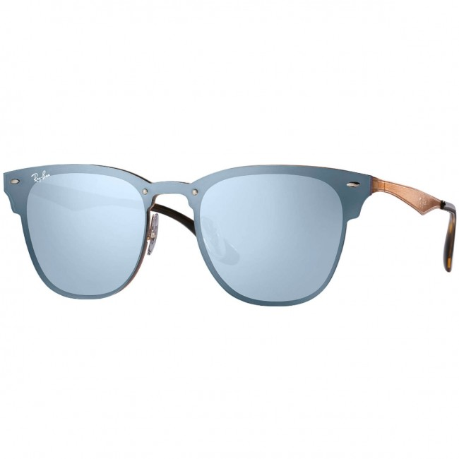 5167709fbb Ray-Ban Blaze Clubmaster Sunglasses - Bronze Copper Blue Silver Mirror - Cleanline  Surf