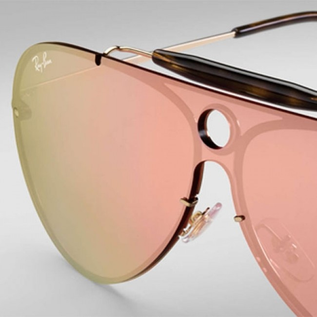 954be0636b0 Ray-Ban Blaze Shooter Sunglasses - Gold Pink Mirror - Cleanline Surf