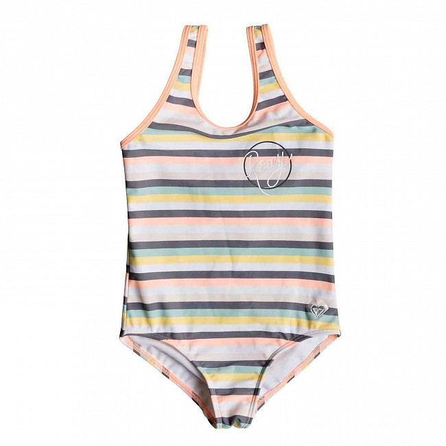 1124fb82ab Roxy Youth Girls Lets Go Surfing One-Piece Swimsuit - Salmon Candy Stripes  - Cleanline Surf