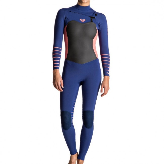 2201cc72fd Roxy Women s Syncro Plus 3 2 Chest Zip Wetsuit - Navy Coral Flame