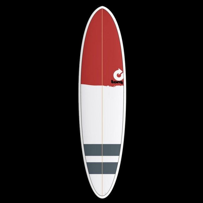 torq mod fun 7 2 x 20 1 4 x 2 3 4 surfboard red nose stripes