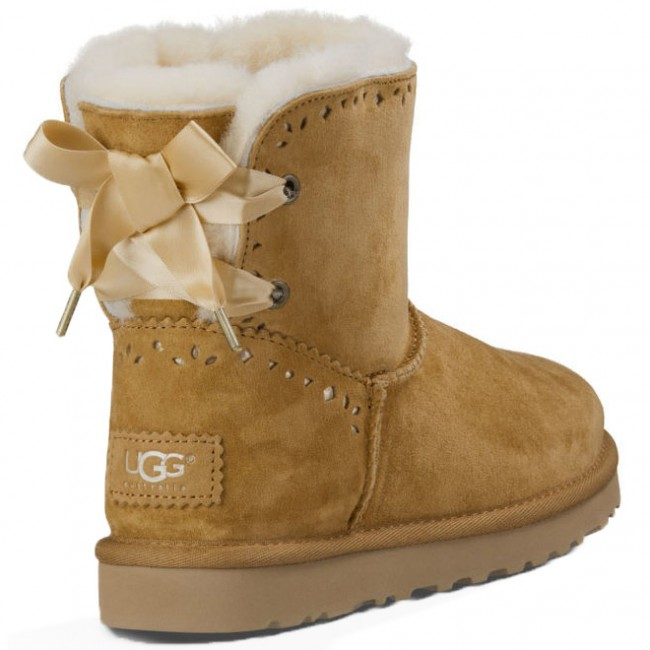 UGG Boots Womens - UGG Dixi Flora Perf Chestnut Suede