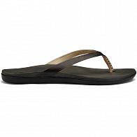 Olukai Women's Ho'Opio Leather Sandals - Onyx/Black