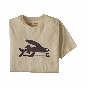 Patagonia Flying Fish Organic Cotton T-Shirt - Oyster White/Protected Peaks