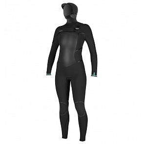 O'Neill Women's Psycho Tech 5/4+ Hooded Chest Zip Wetsuit - Black