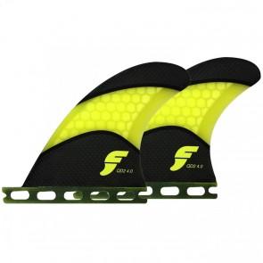 Futures Fins - QD2 4.0'' Quad Rears Techflex - Carbon/Yellow