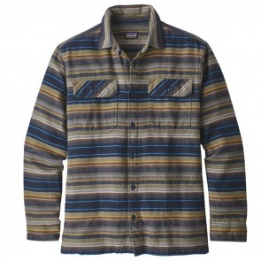 Patagonia Fjord Long Sleeve Flannel - Folk Dobby/Navy Blue