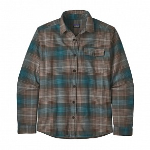 Patagonia Lightweight Fjord Long Sleeve Flannel Shirt - Canopy/Bristle Brown