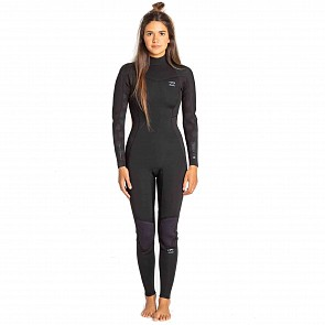 Billabong Women's Furnace Synergy 4/3 Back Zip Wetsuit - Black Palms
