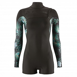 Patagonia Women's R1 Lite Yulex 2mm Long Sleeve Chest Zip Spring Wetsuit - Bayou Palmetto/Ink Black