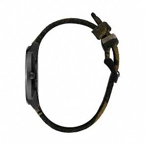 Nixon Porter Leather Watch - Black/Camo/Volt