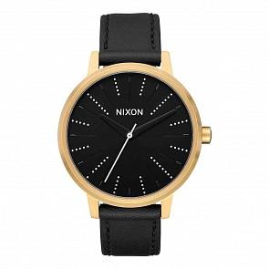 Nixon Kensington Leather Watch - Gold/Black/Silver