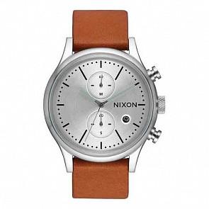 Nixon Station Chrono Leather Watch - Silver/Tan