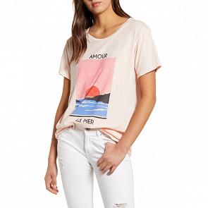 Billabong Women's Amour La Mer T-Shirt - Barely Blush - front