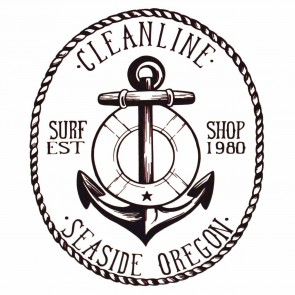 Cleanline Surf Anchor Sticker - Black
