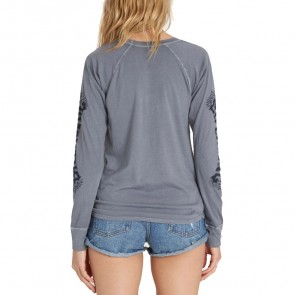 Billabong Women's Painted Logo Long Sleeve Top - Moody Blue