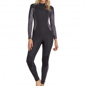 Billabong Women's Synergy 4/3 Back Zip Wetsuit - Black Geo