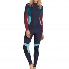 Billabong Women's Synergy 4/3 Chest Zip Wetsuit - Blue Tide