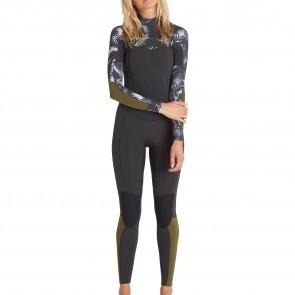Billabong Women's Salty Dayz 4/3 Chest Zip Wetsuit - Black Sands